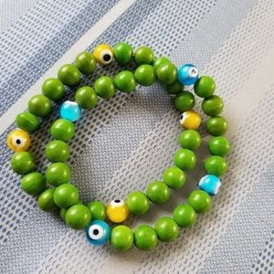 Jewelry - Jade evil eyes stretched bracelet